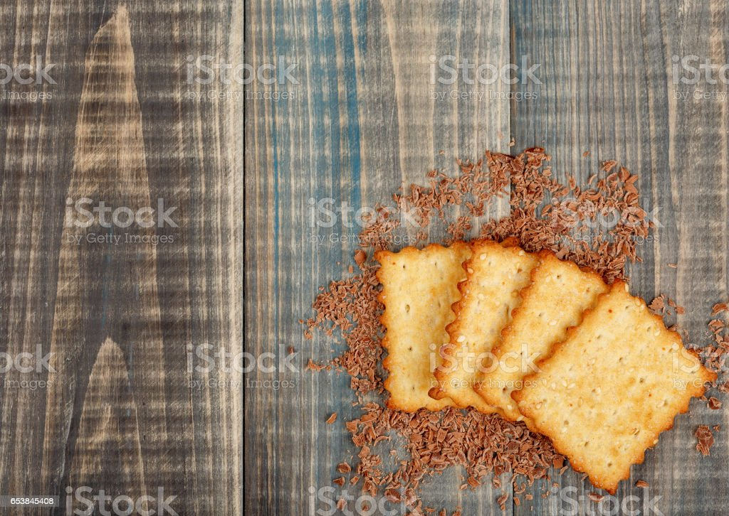 Crackers with sugar and sesame stock photo