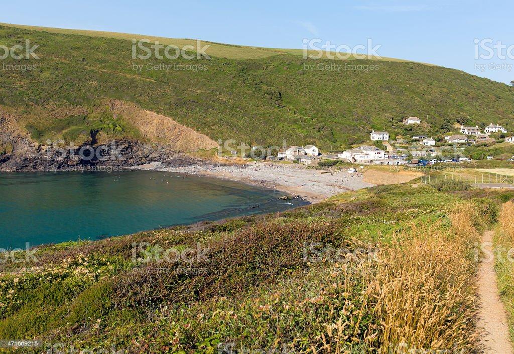Crackington Haven beach North Cornwall England stock photo