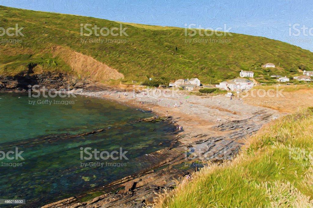 Crackington Haven beach North Cornwall like oil painting stock photo