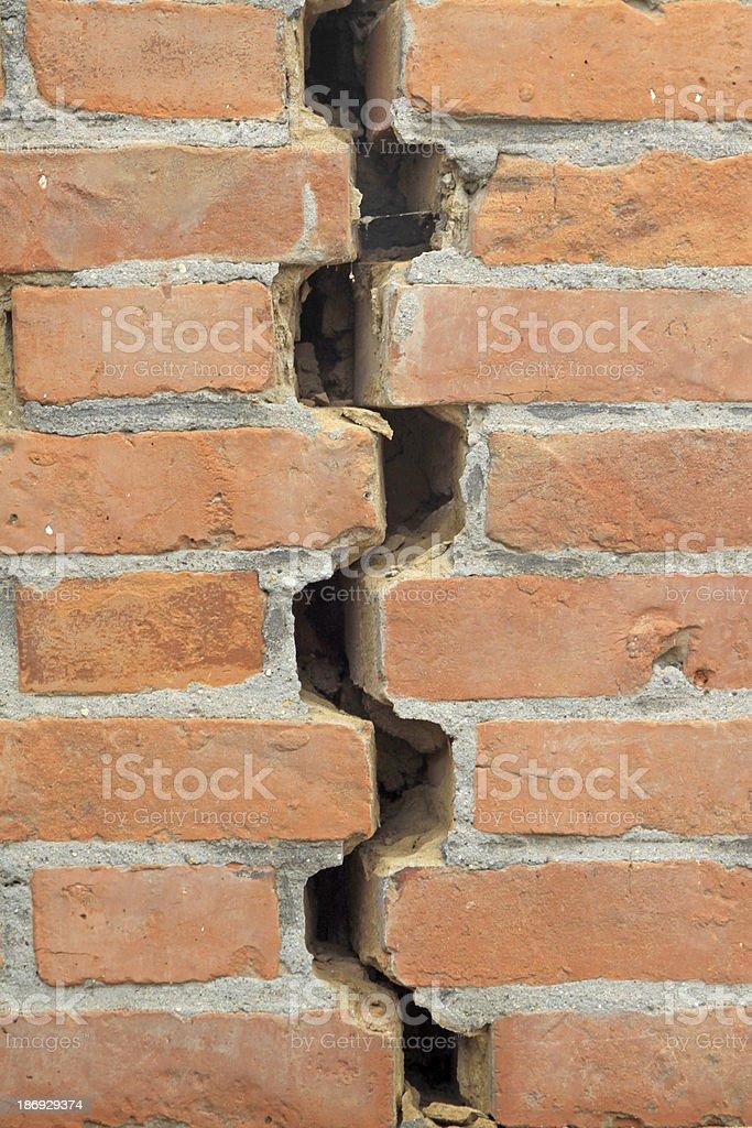 cracks in brick wall stock photo