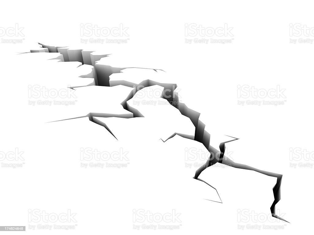Cracks on a white surface after an earthquake stock photo