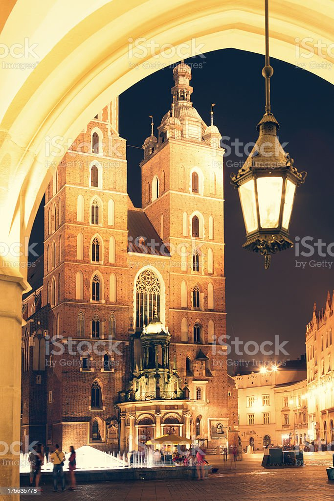 Cracow, Mariacki Church stock photo