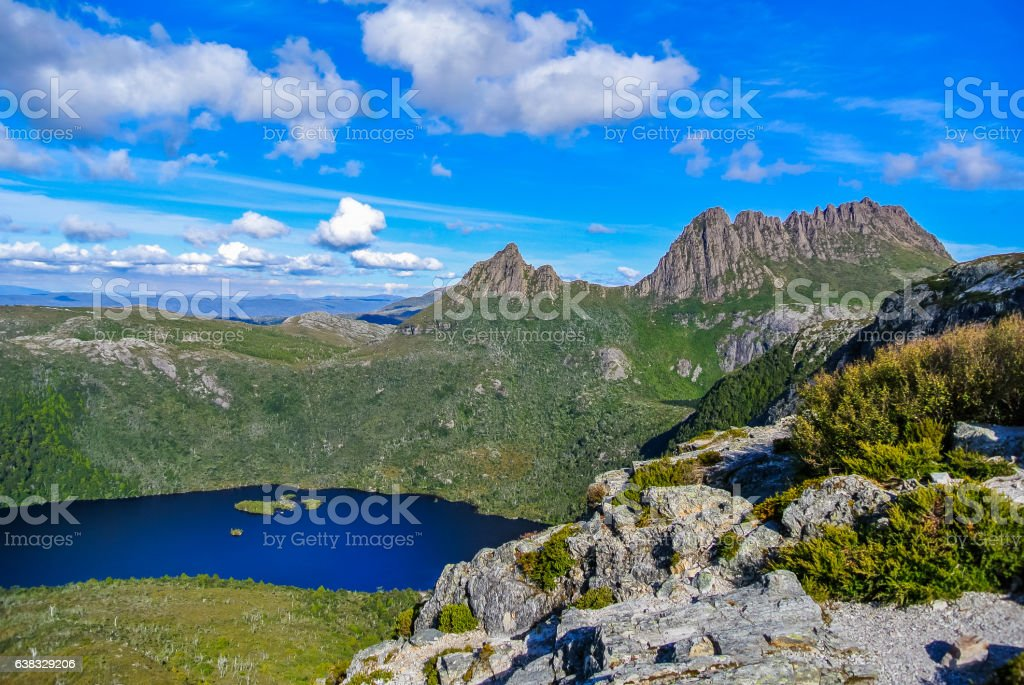 Cradle Mountain and Dove Lake at Cradle Mt National Park stock photo