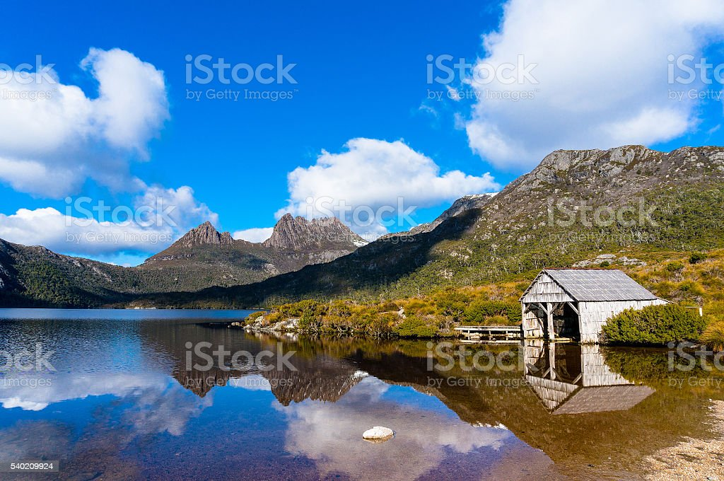 Cradle Mountain Boat Shed stock photo