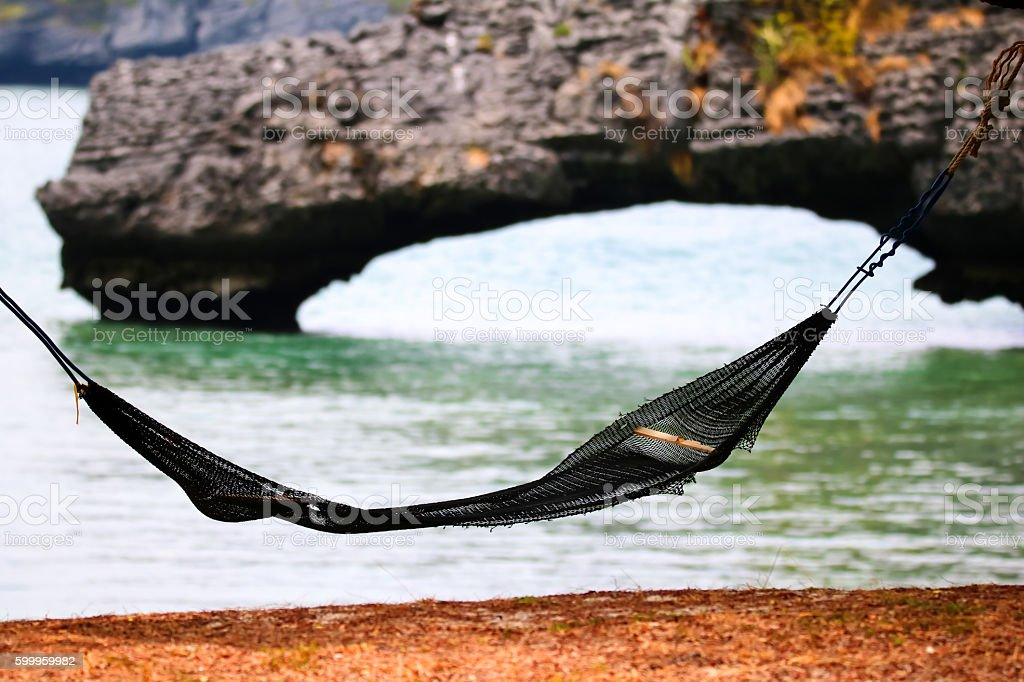 Cradle on the beach at ang thong island. stock photo