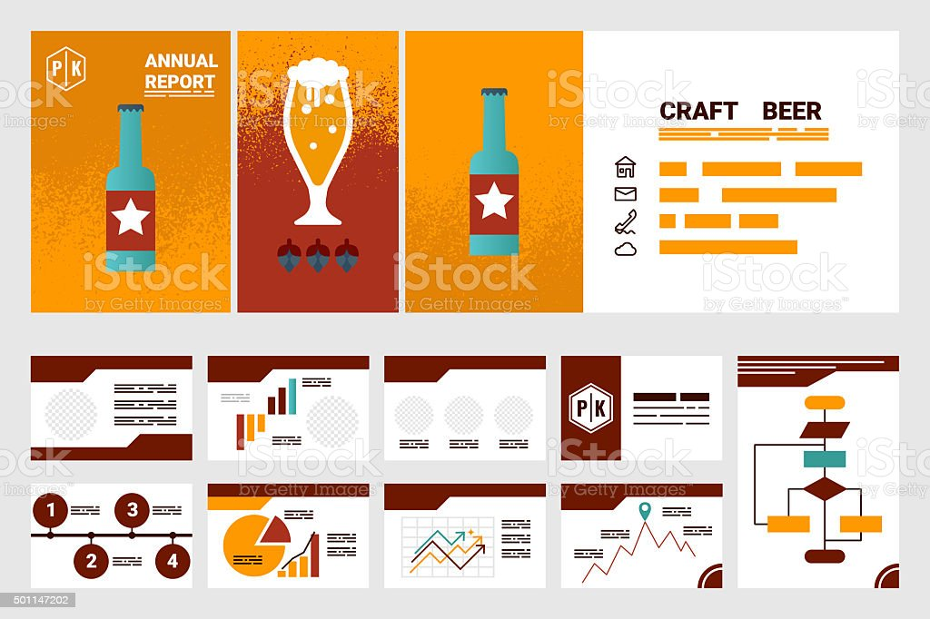 craft beer company annual report cover A4 template stock photo