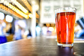 Craft Beer on Brewery Counter with Bokeh Lights