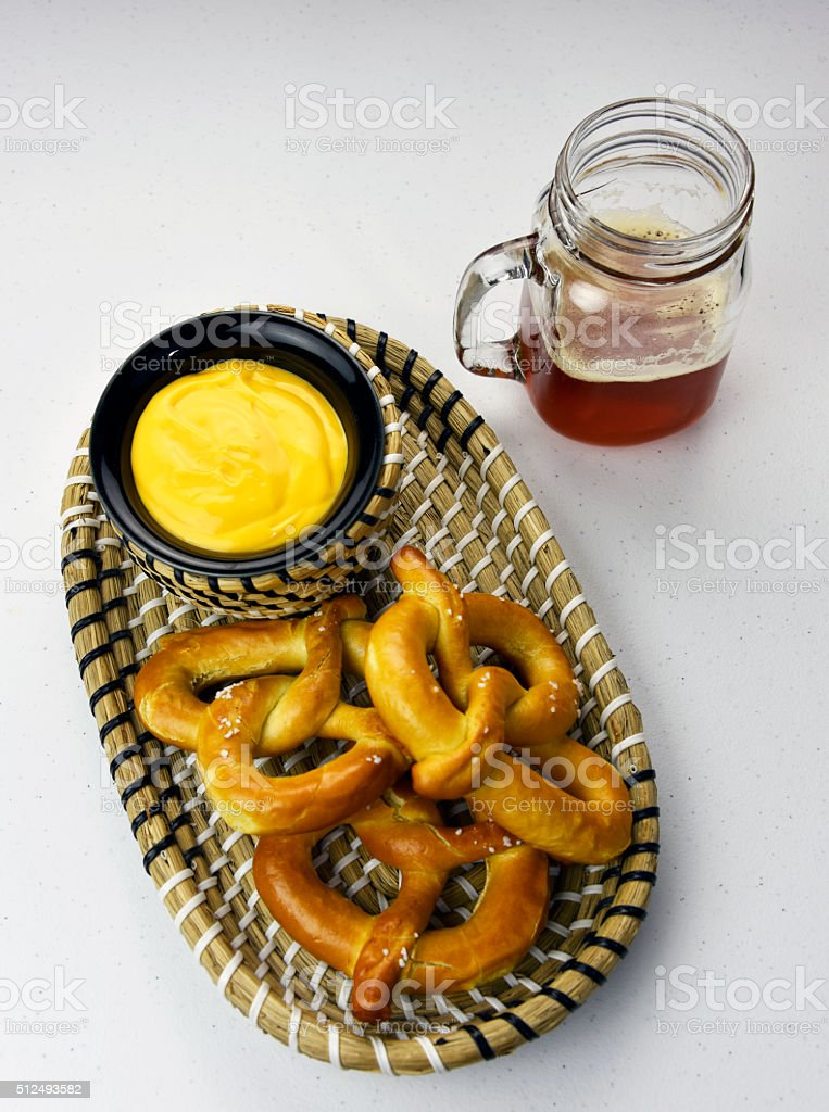 Craft Beer With Pretzel and Cheese royalty-free stock photo
