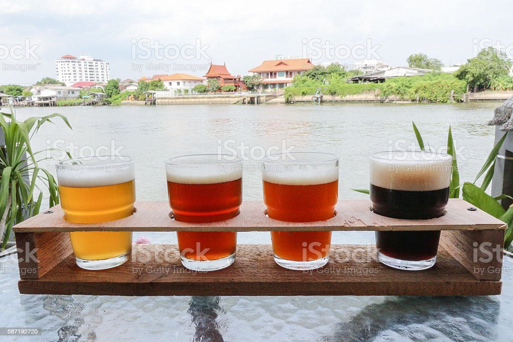 Craft Beers in a Flight Ready for Tasting stock photo