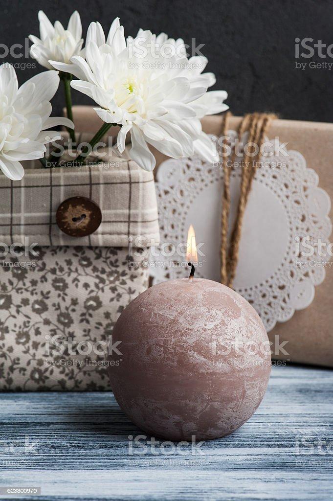 Craft handmade gift box stock photo