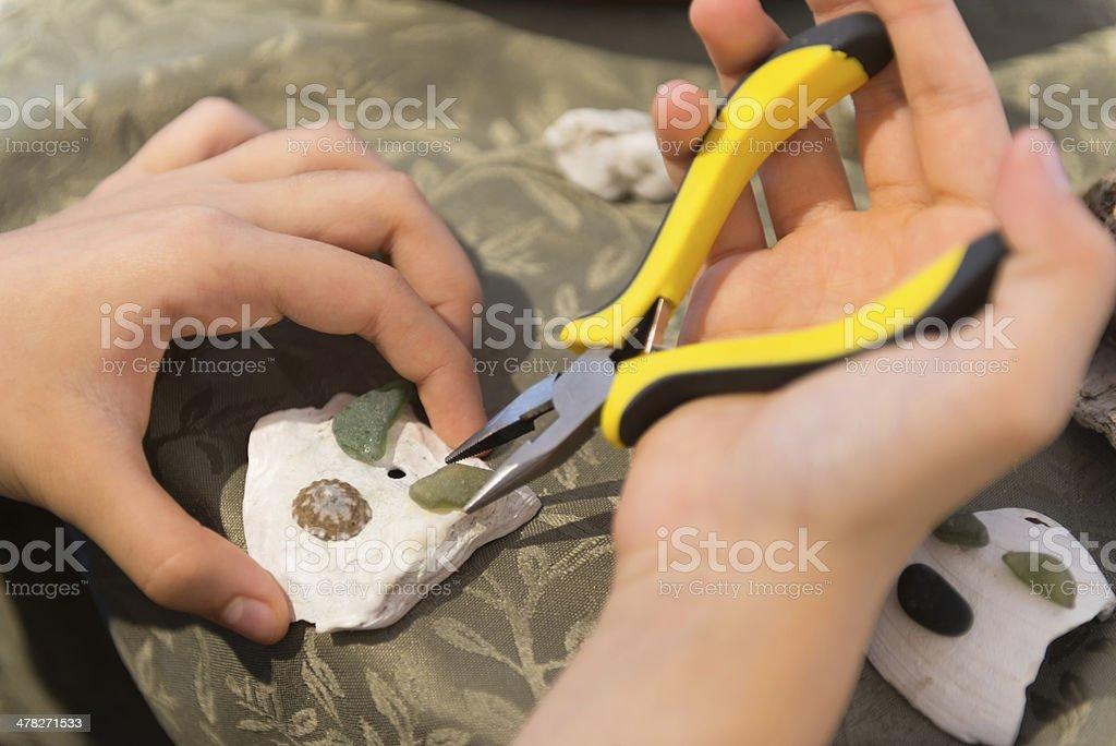 Craft Making Closeup - Shells, Sea Glass & Pebbles royalty-free stock photo