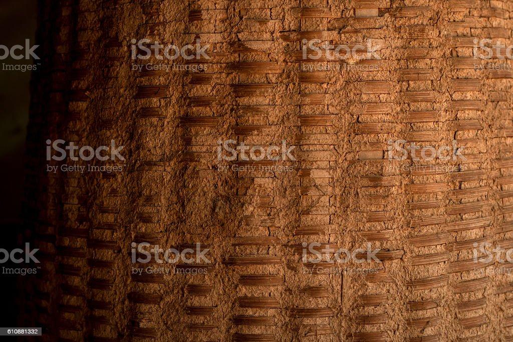 Craft of basket making and Uttar oil leak stock photo