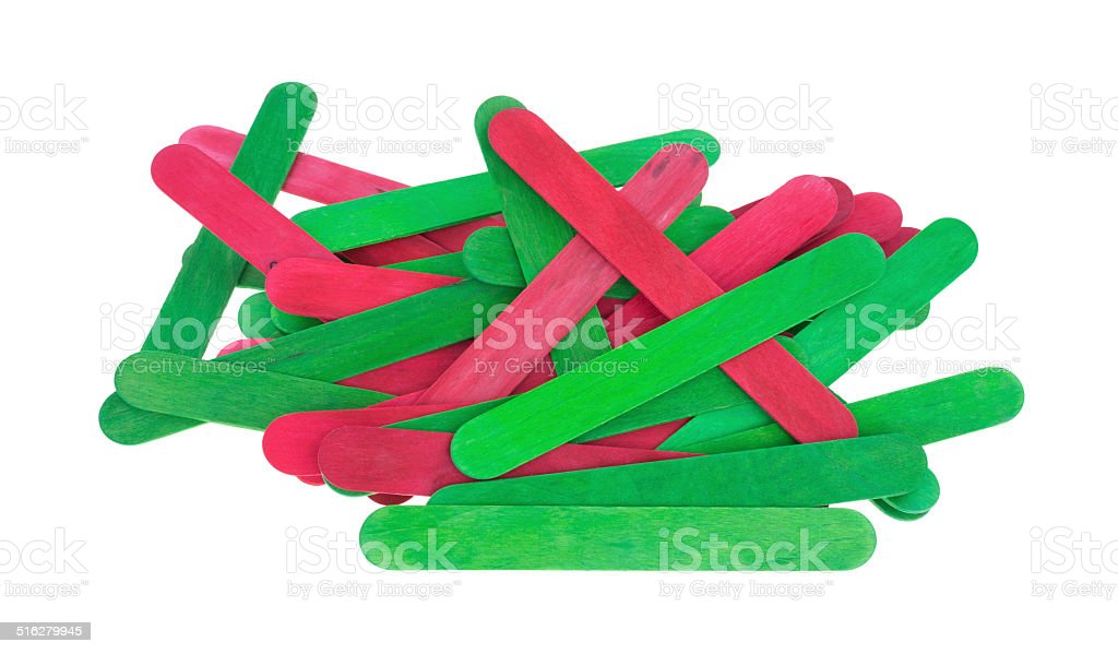Craft sticks in holiday green and red stock photo