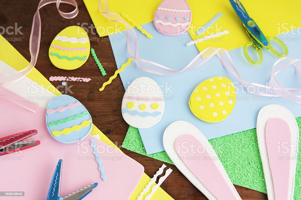 Craft supplies to make some Easter decoration with foam stock photo