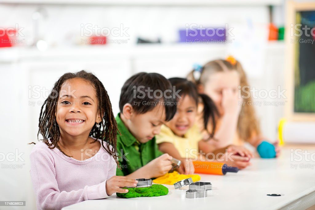 Craft Time at Preschool royalty-free stock photo