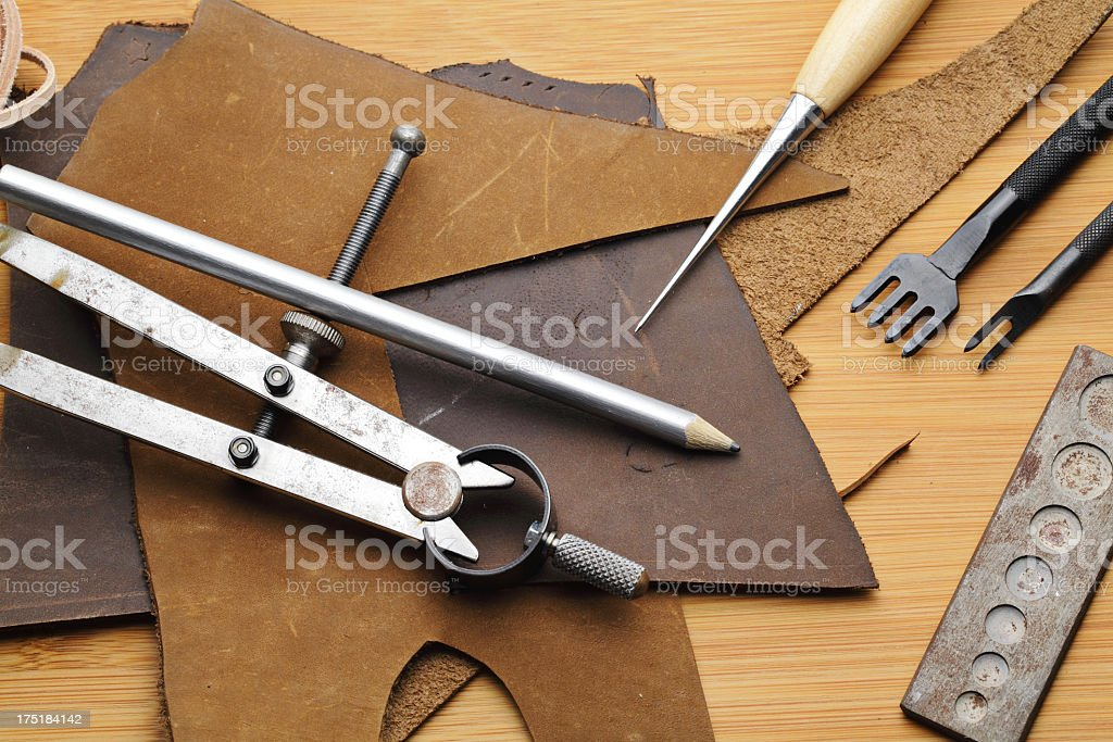 Craft tool with fragmented leather stock photo
