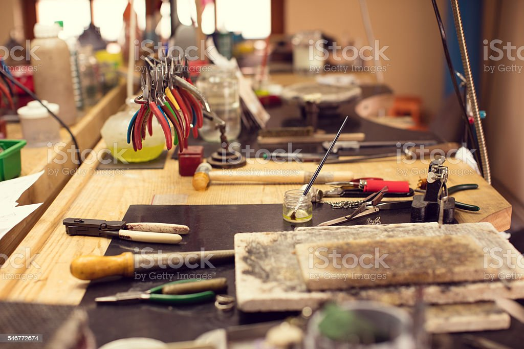 Craft workshop for jewelery making stock photo