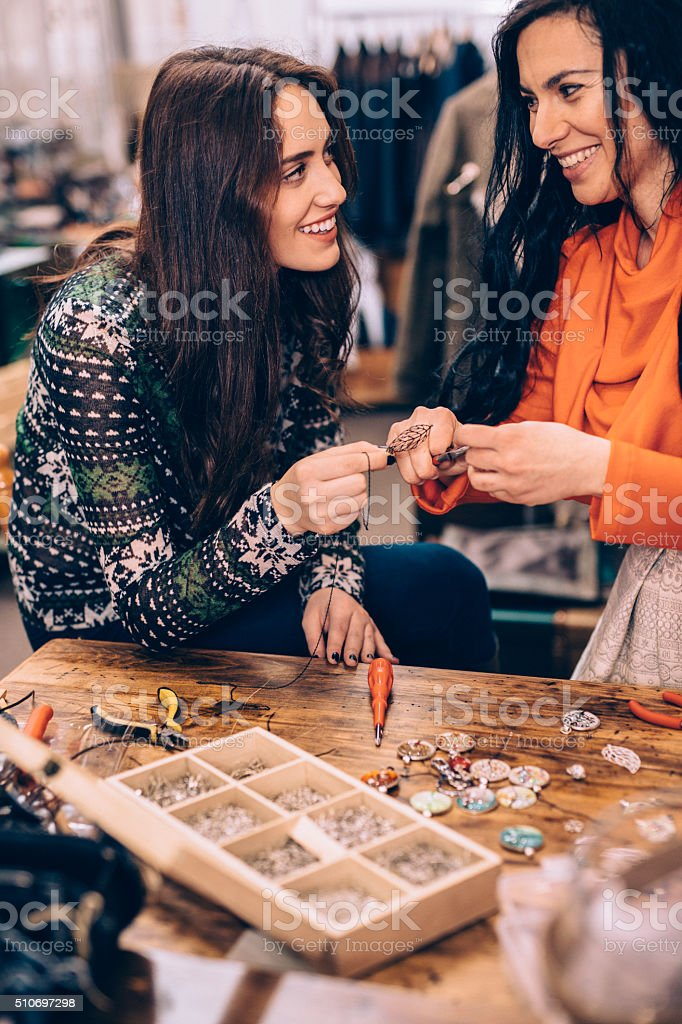 Crafting jewelry stock photo