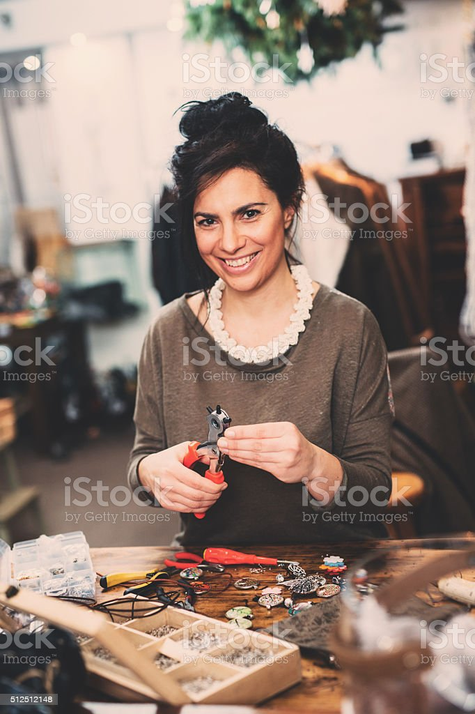 Crafting jewelry stock photo