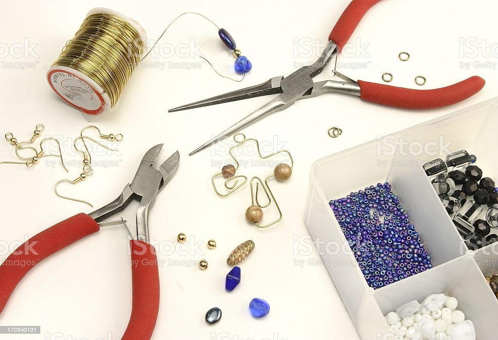 Crafting Jewelry, wire, and tools royalty-free stock photo