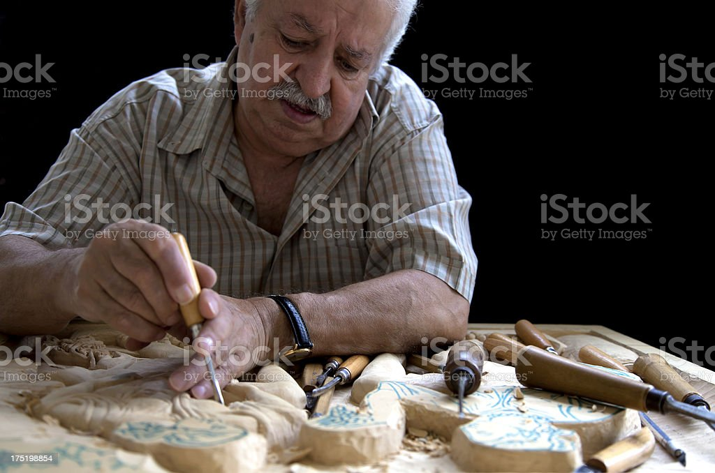 craftman in Turkey working on an wooden art image royalty-free stock photo
