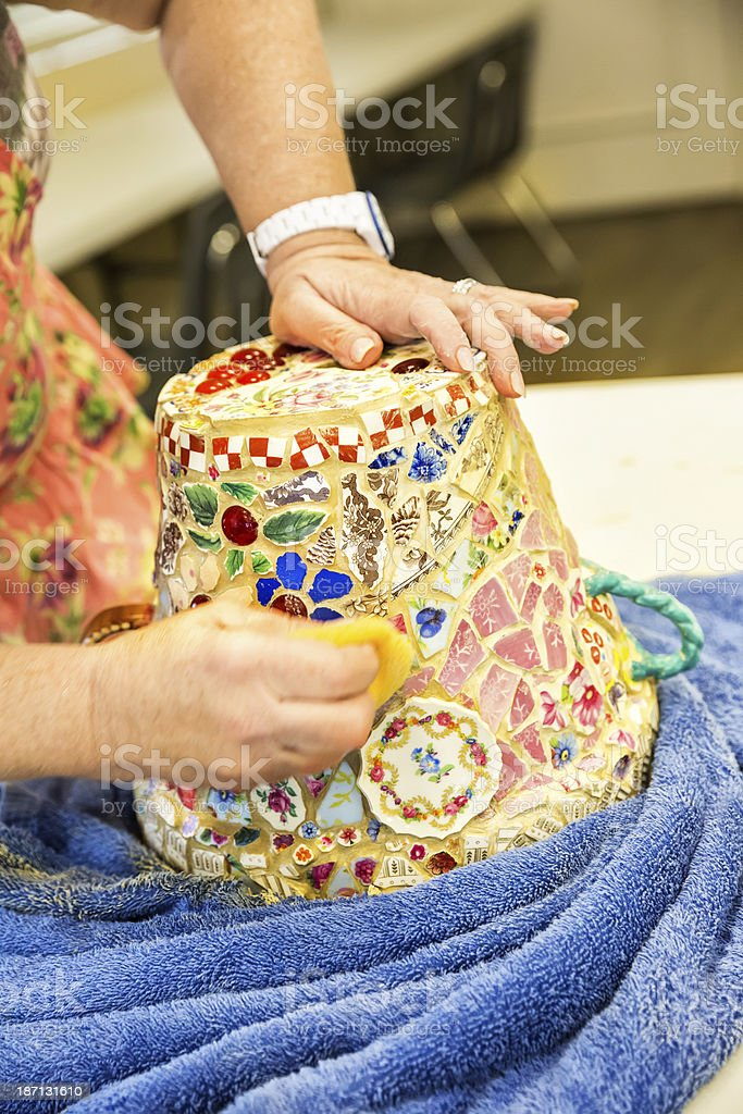 Crafts Class: Making a Multicolored mosaic flower pot royalty-free stock photo