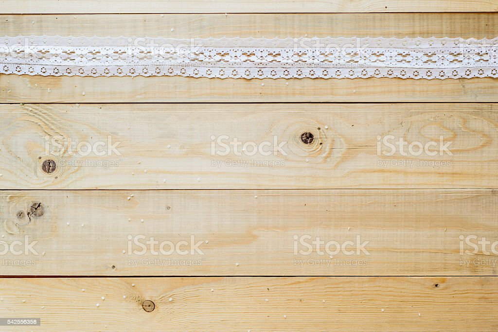 crafts concept, lace ribbon on wooden background stock photo