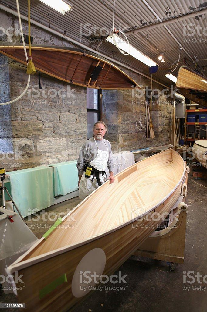 Craftsman, Canoe Builder stock photo