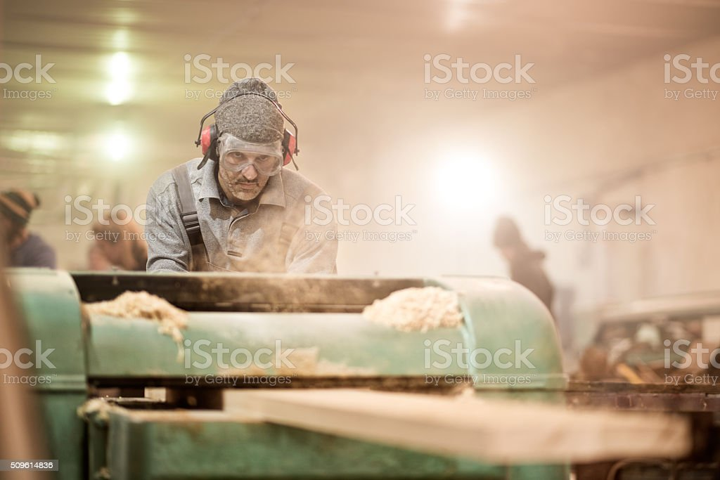 Craftsman in workshop stock photo