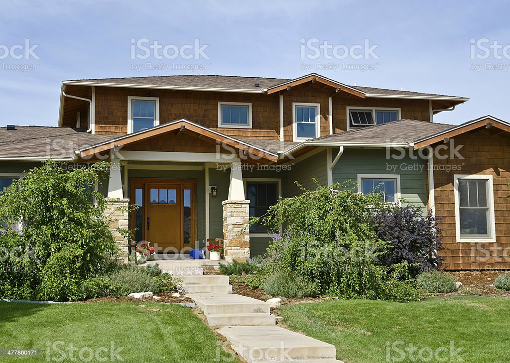 craftsman style single-family home, Midwestern , USA royalty-free stock photo