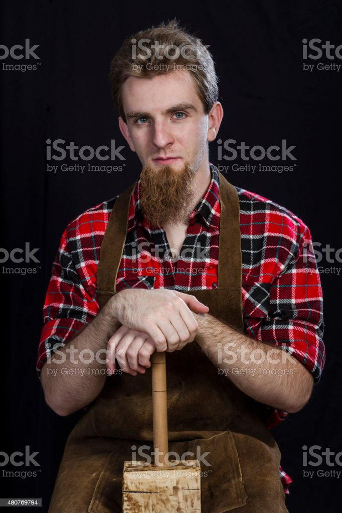 Craftsman with Hammer stock photo