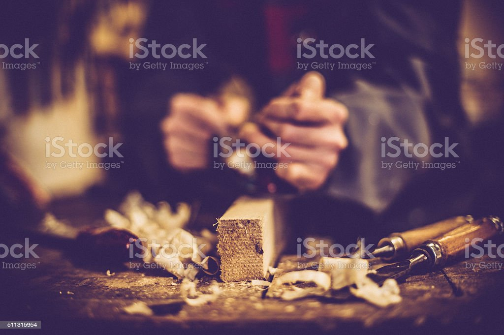 Craftsperson Planing Wood, Midsection, Selective Focus stock photo