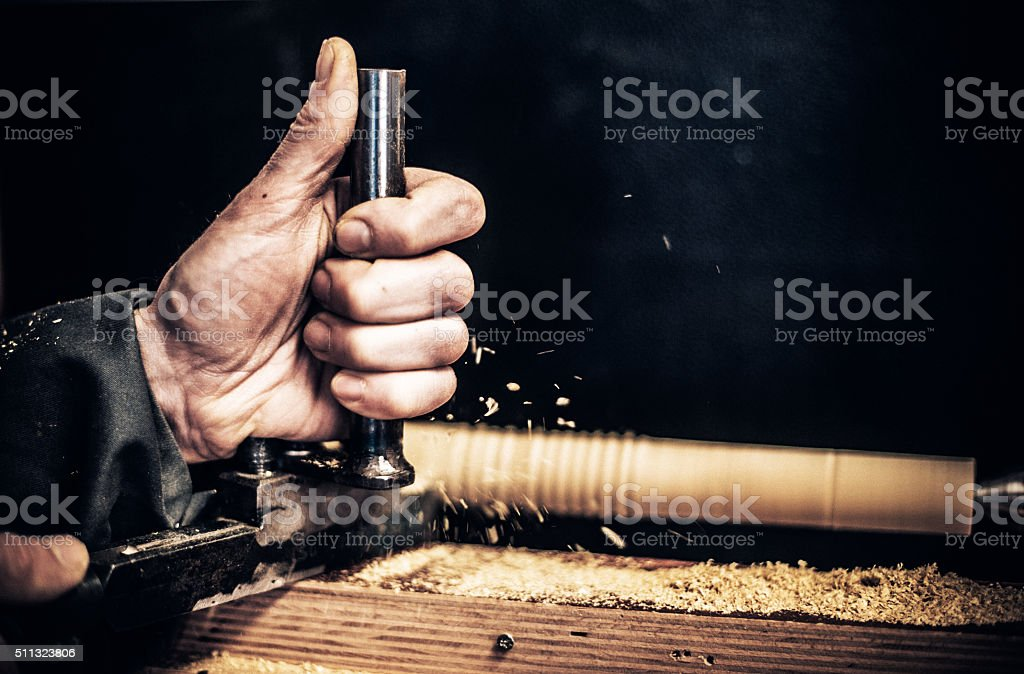 Craftsperson Working on Woodturner, Copy Space stock photo