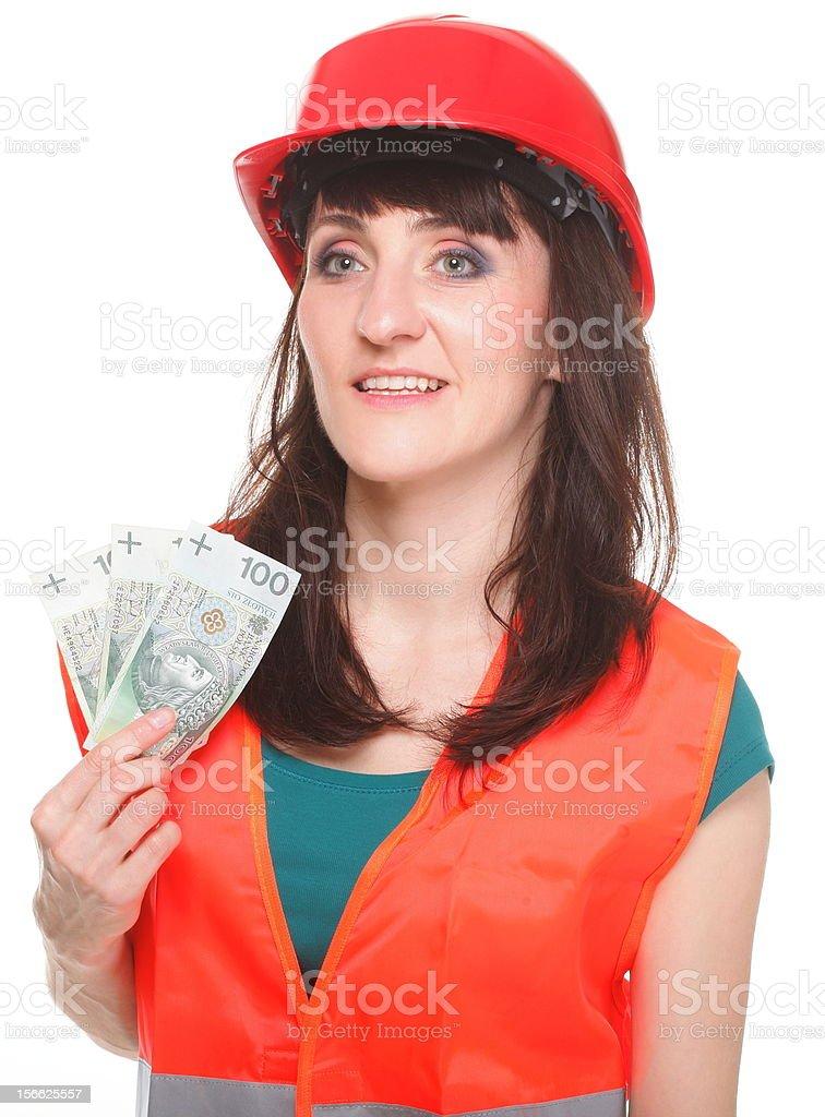 Craftswoman holding the money royalty-free stock photo
