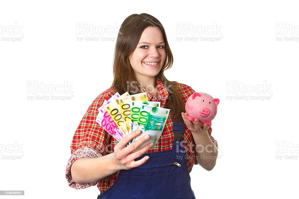 Craftswoman with euro banknotes stock photo