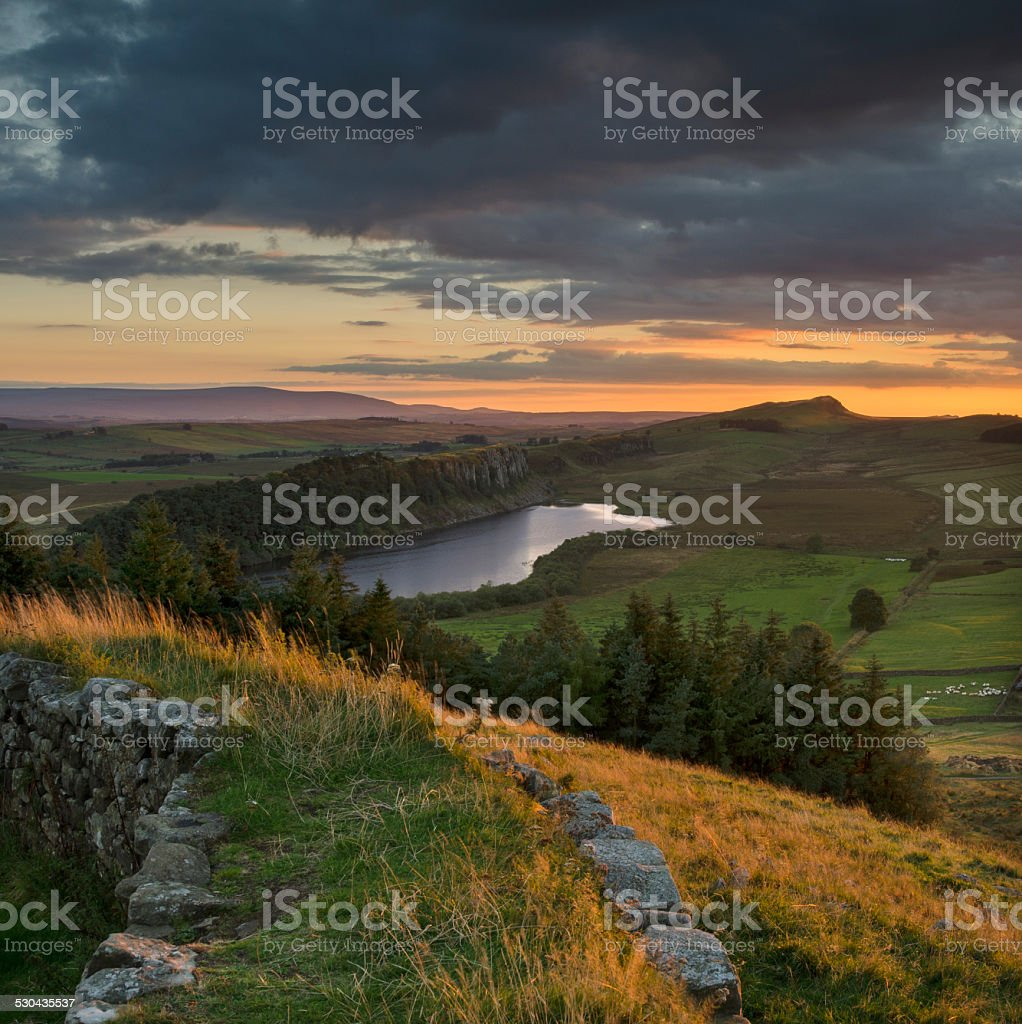 Crag Lough from Hadrian's Wall stock photo
