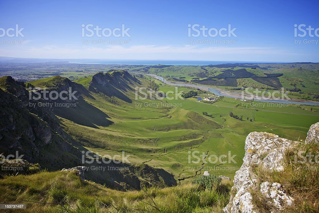 Craggy Range from Te Mata Peak stock photo