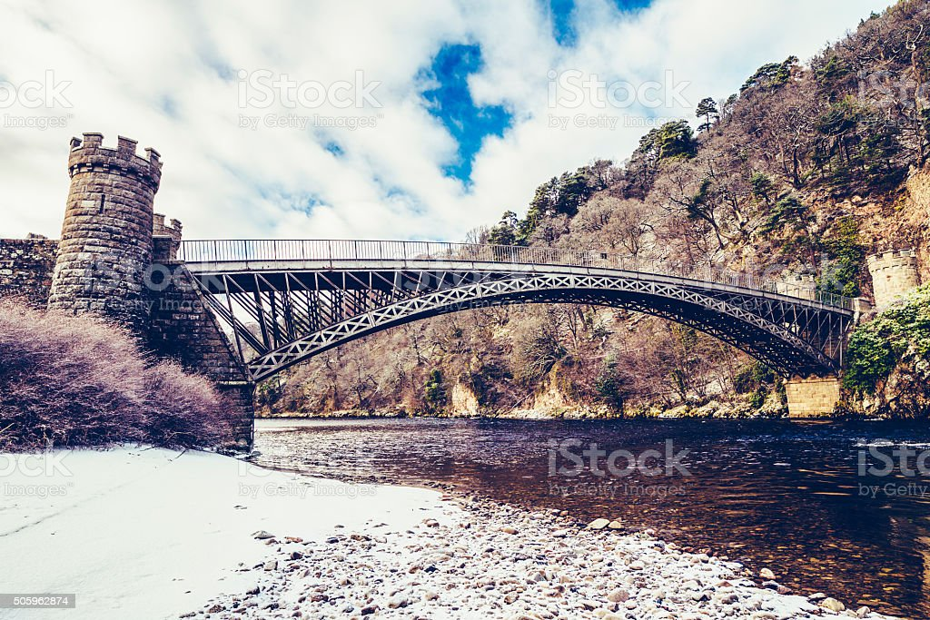 Craigellachie Bridge, River Spey stock photo