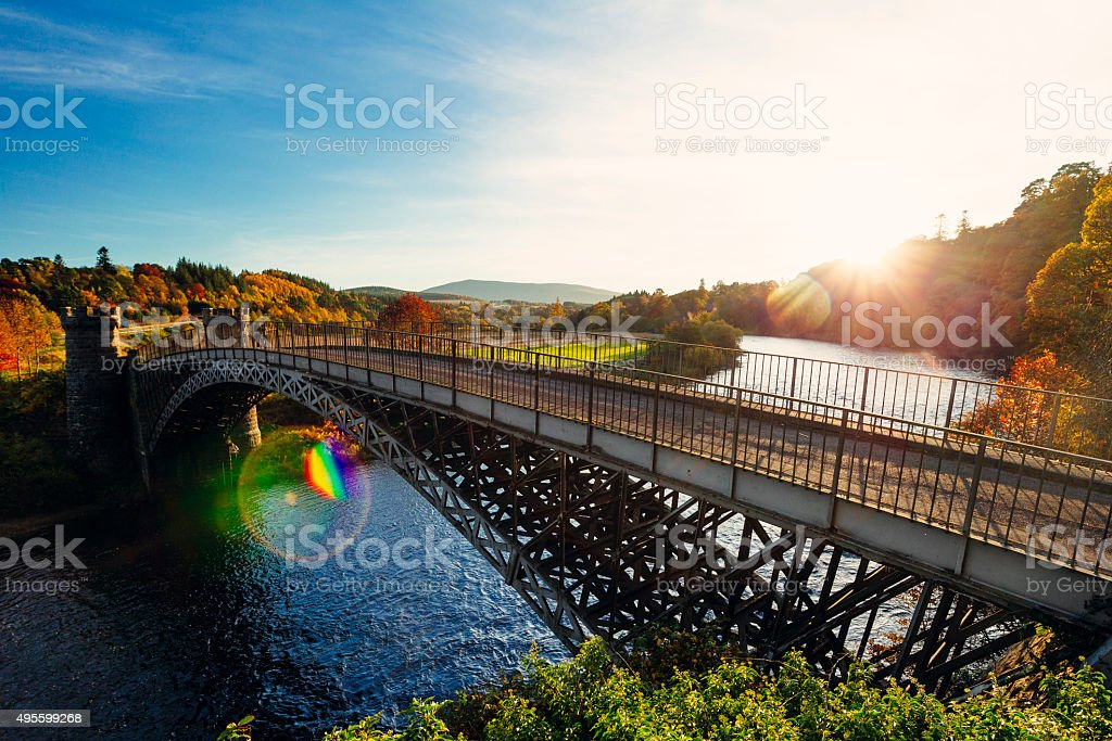 Craigellachie Bridge, River Spey, Scotland stock photo