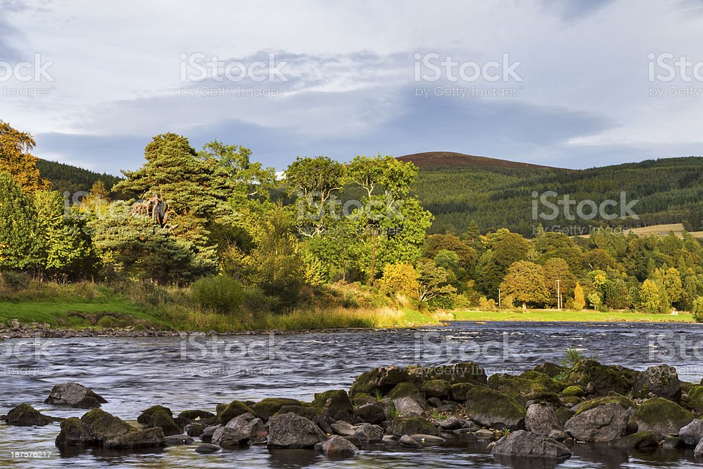 Craigellachie, The River Spey stock photo