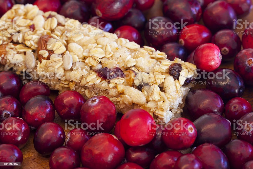 Cranberries and Granola Bar royalty-free stock photo