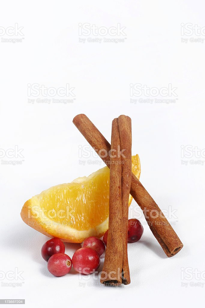 Cranberries Cinnamon Sticks and Orange Slice royalty-free stock photo