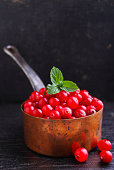 cranberries in a copper bucket on a black background