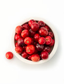 cranberries in white bowl, high angle view