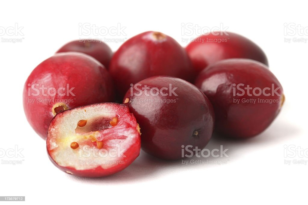 Cranberries on white royalty-free stock photo