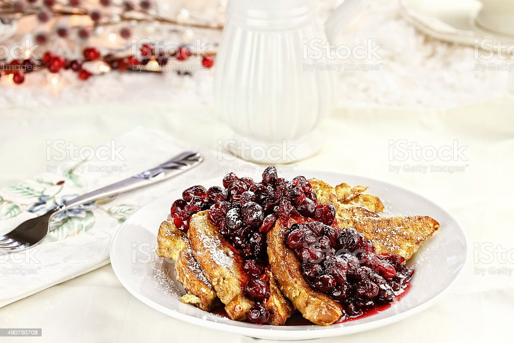 Cranberries over French Toast stock photo