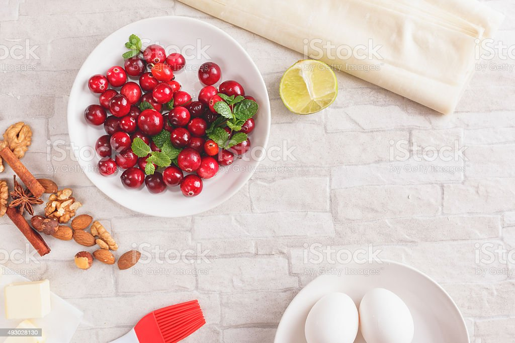 Cranberry and walnut strudel ingredients stock photo