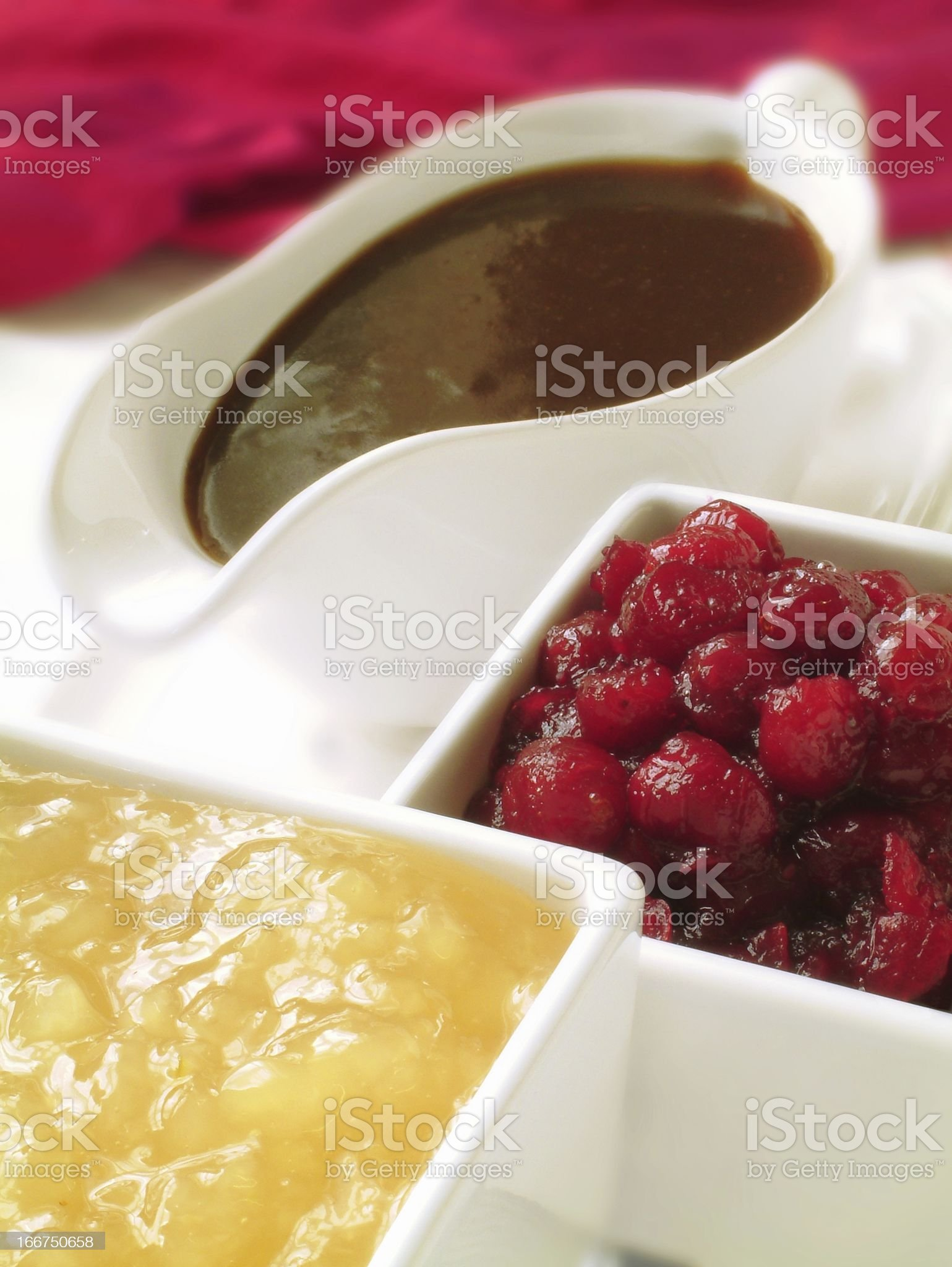 cranberry, apple sauce and gravy royalty-free stock photo