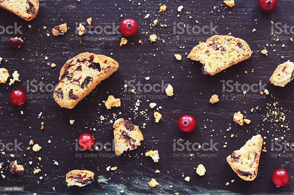 Cranberry biscotti on wooden background stock photo