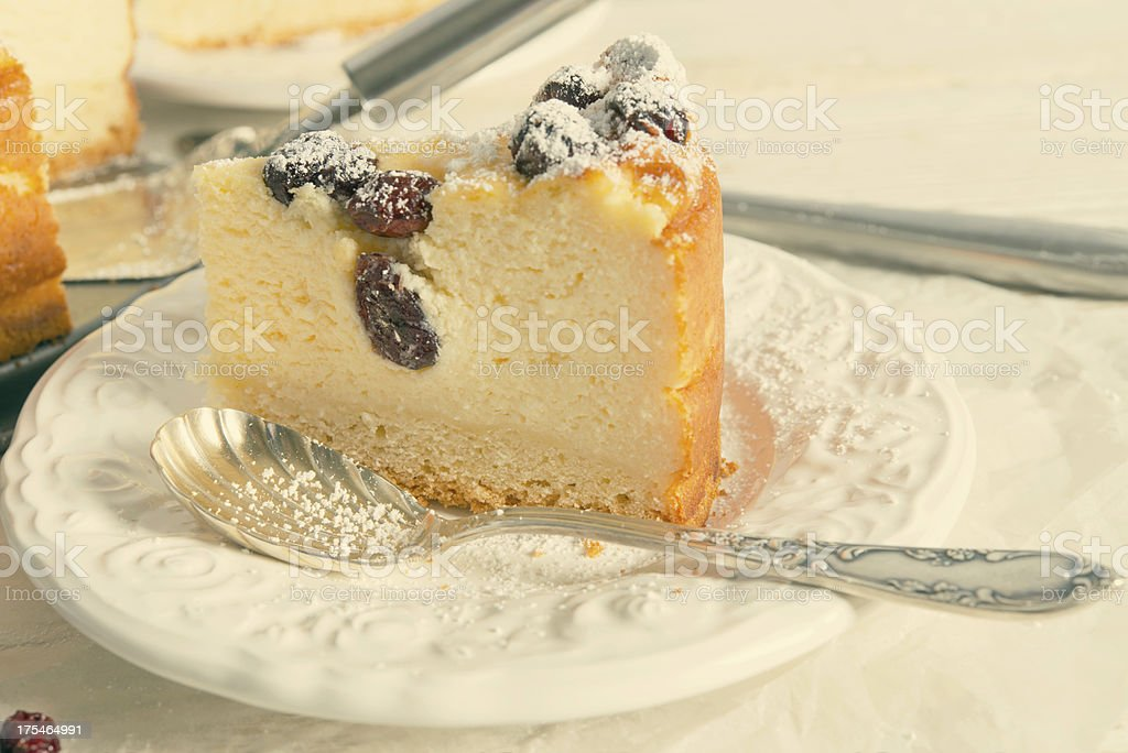 Cranberry Cheesecake - vintage effect stock photo